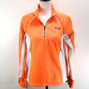 《Fila》Neon Orange Sport Track Jacket Sweatshirt